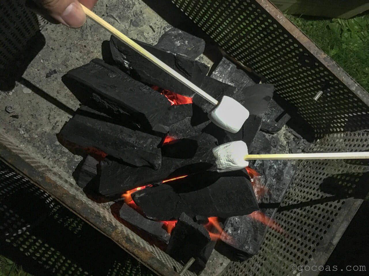 キャンプでマシュマロ焼いた