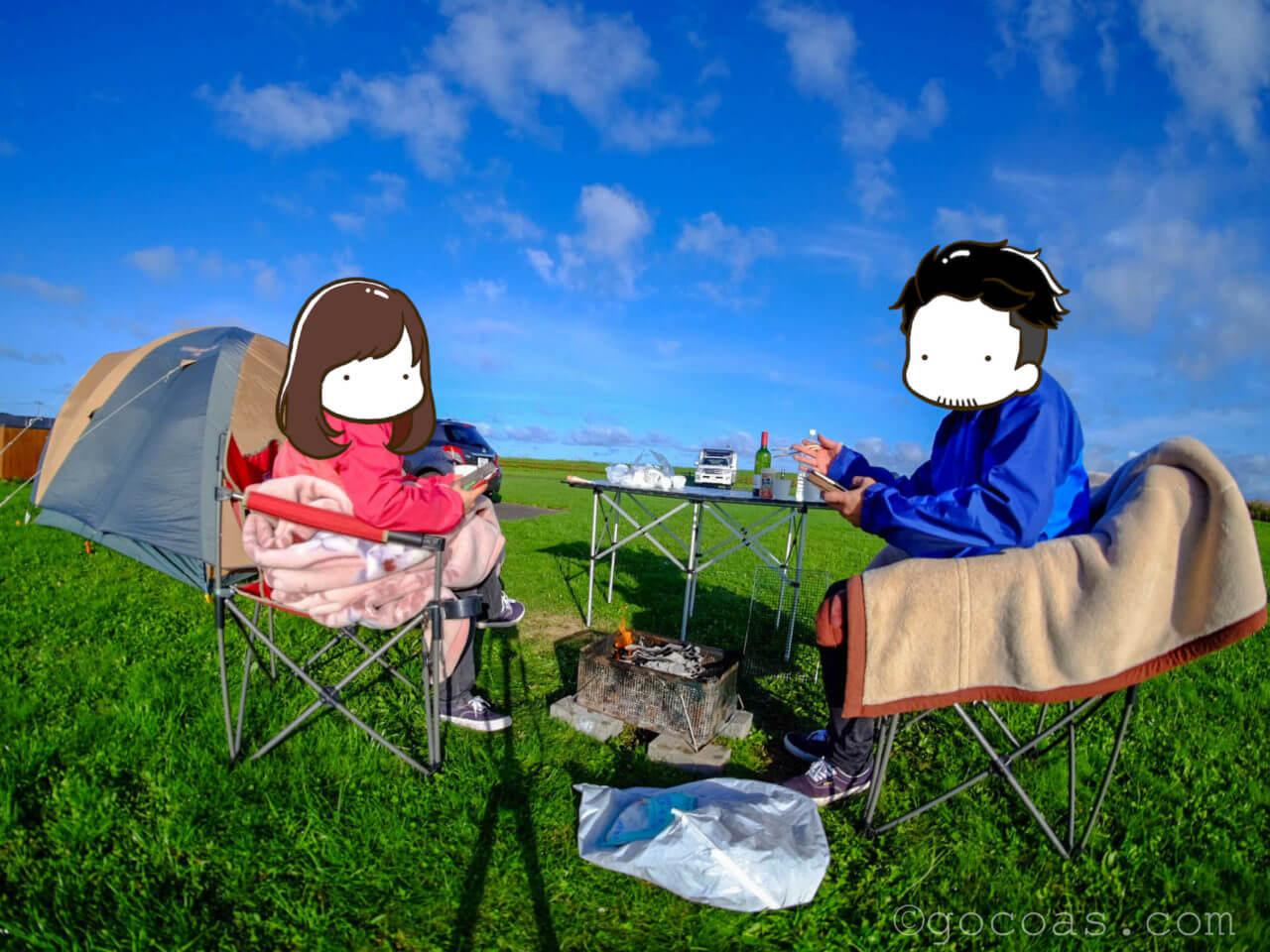 キャンプ朝