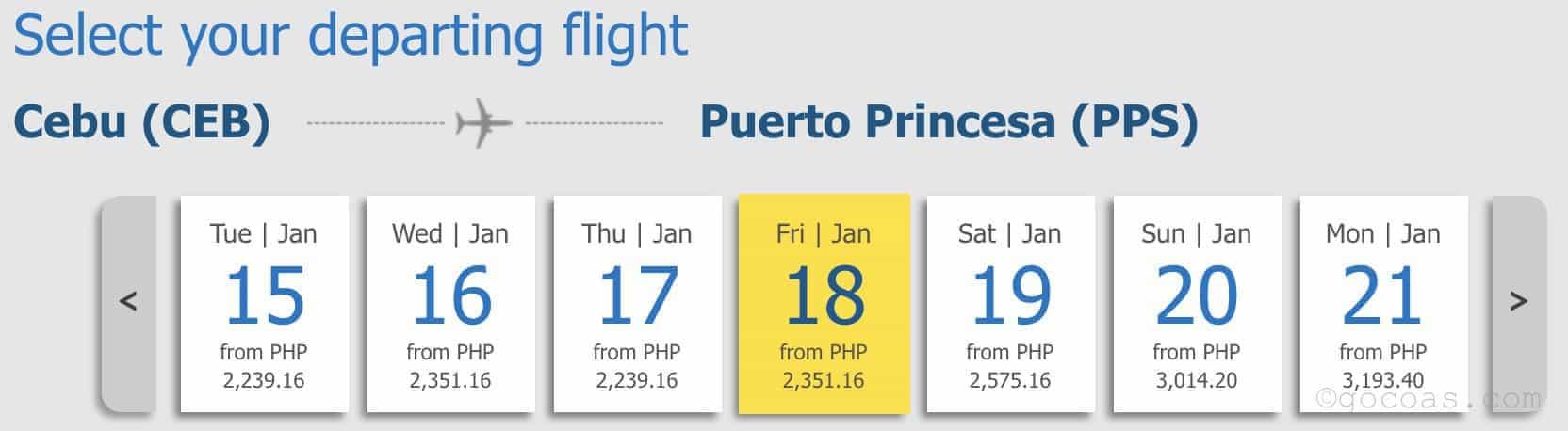 セブパシフィックのセブからプエルトプリンセサの航空券の値段