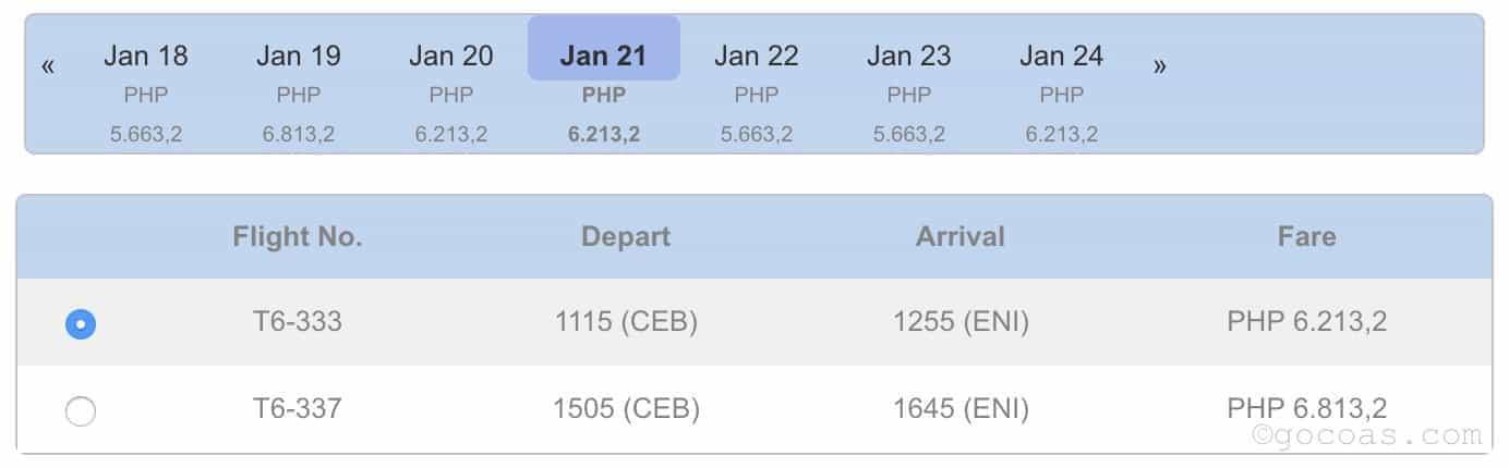 AirSWIFT(エアスイフト)のセブからエルニドの航空券の値段