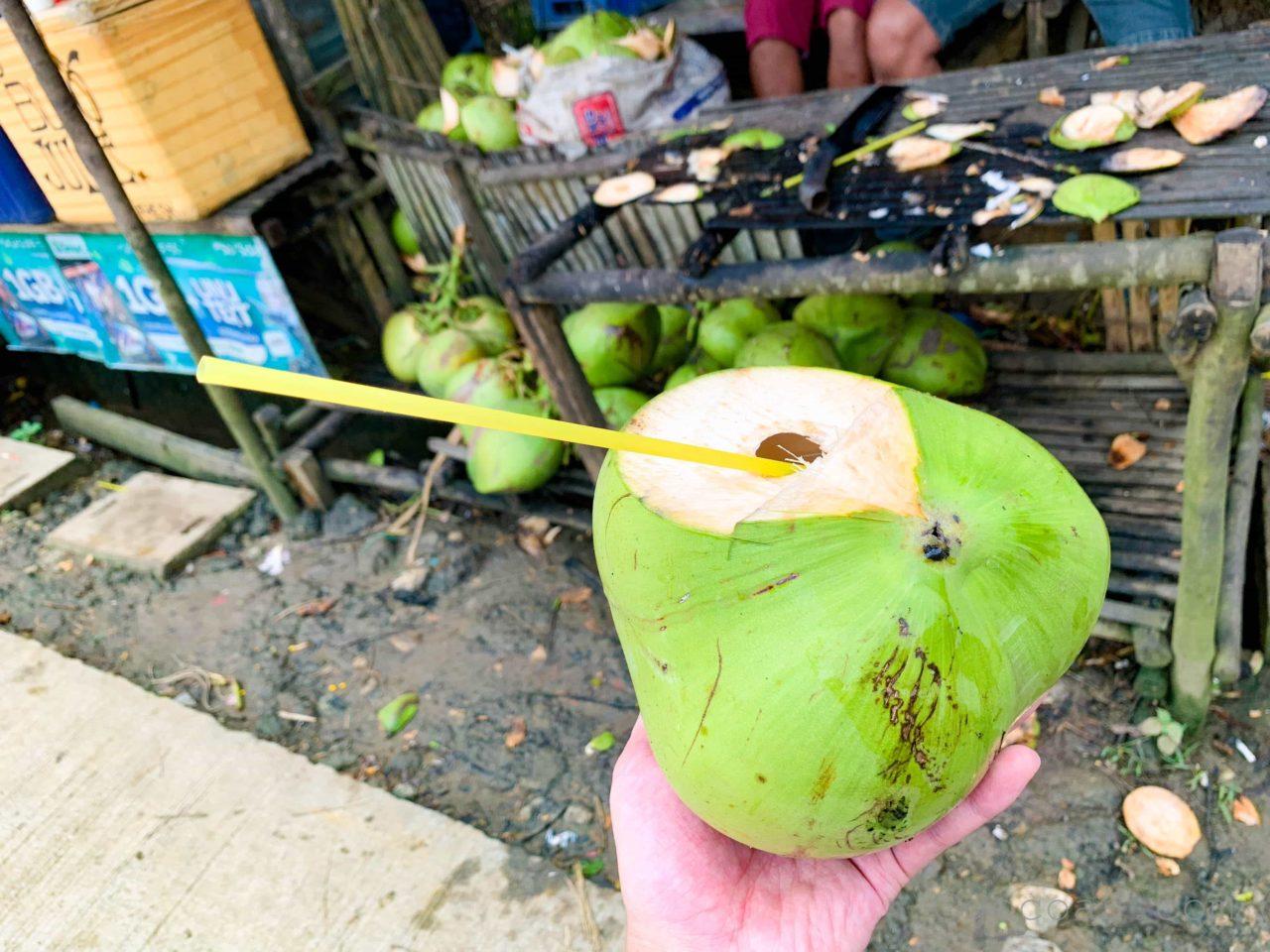 シラオガーデン付近の屋台で買ったココナッツジュース