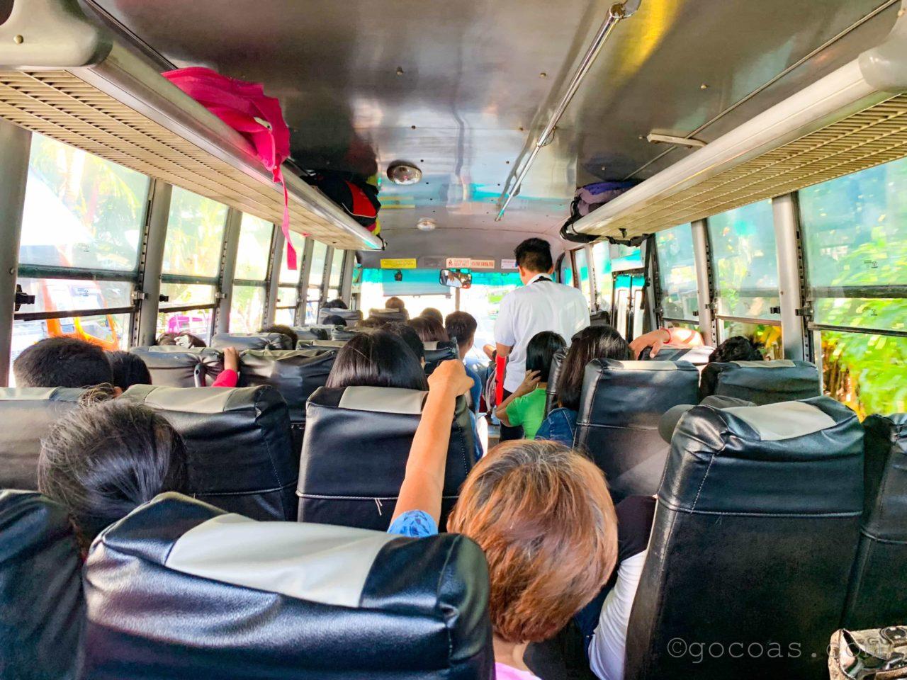 オスロブからセブのエアコンなしバス