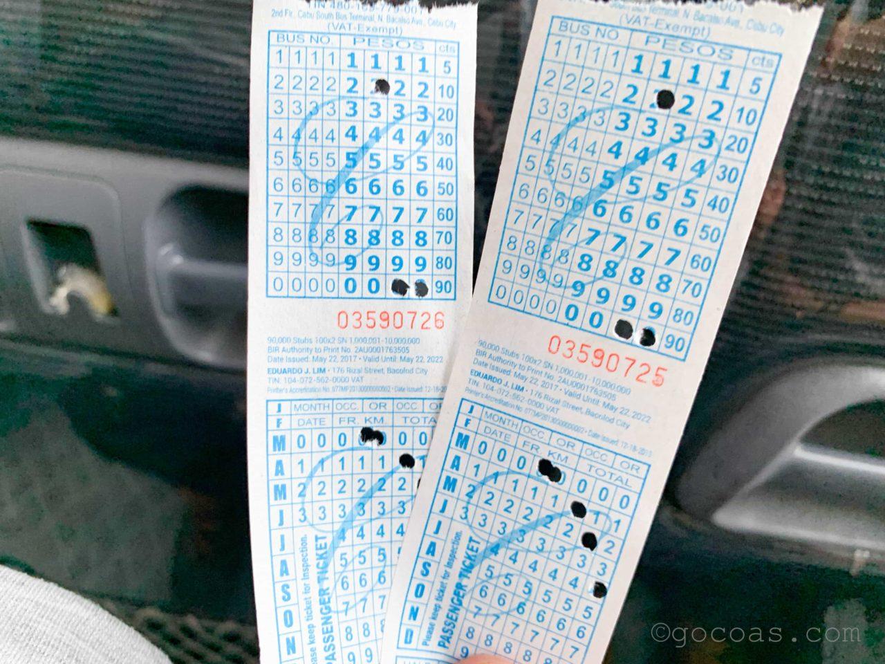 オスロブのバスのチケット