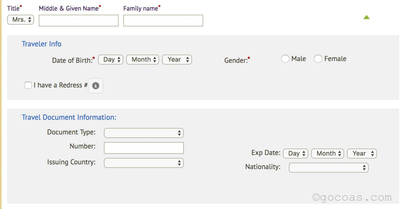 カンボジア・アンコール航空の予約方法の情報入力欄
