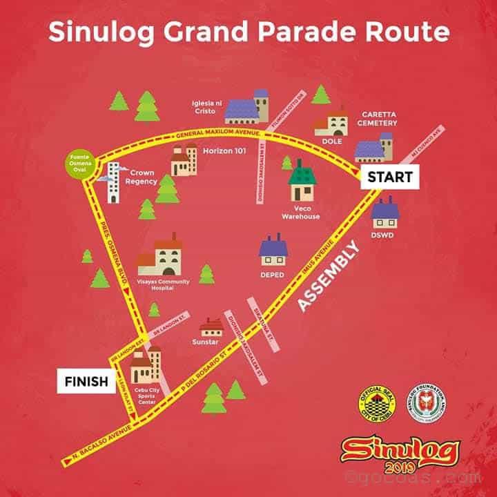 シヌログフェスティバルのパレードルート