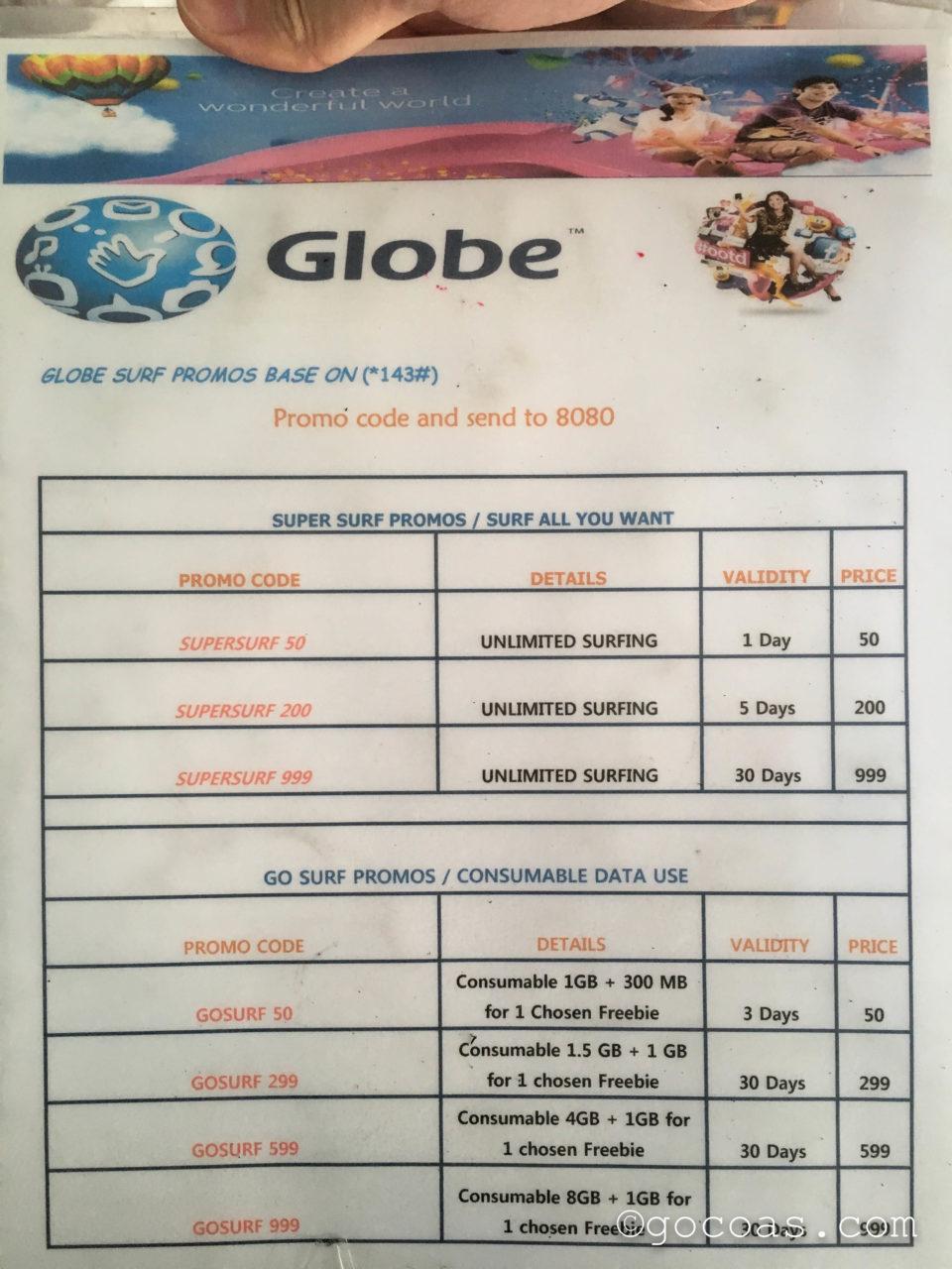 Globeの料金表