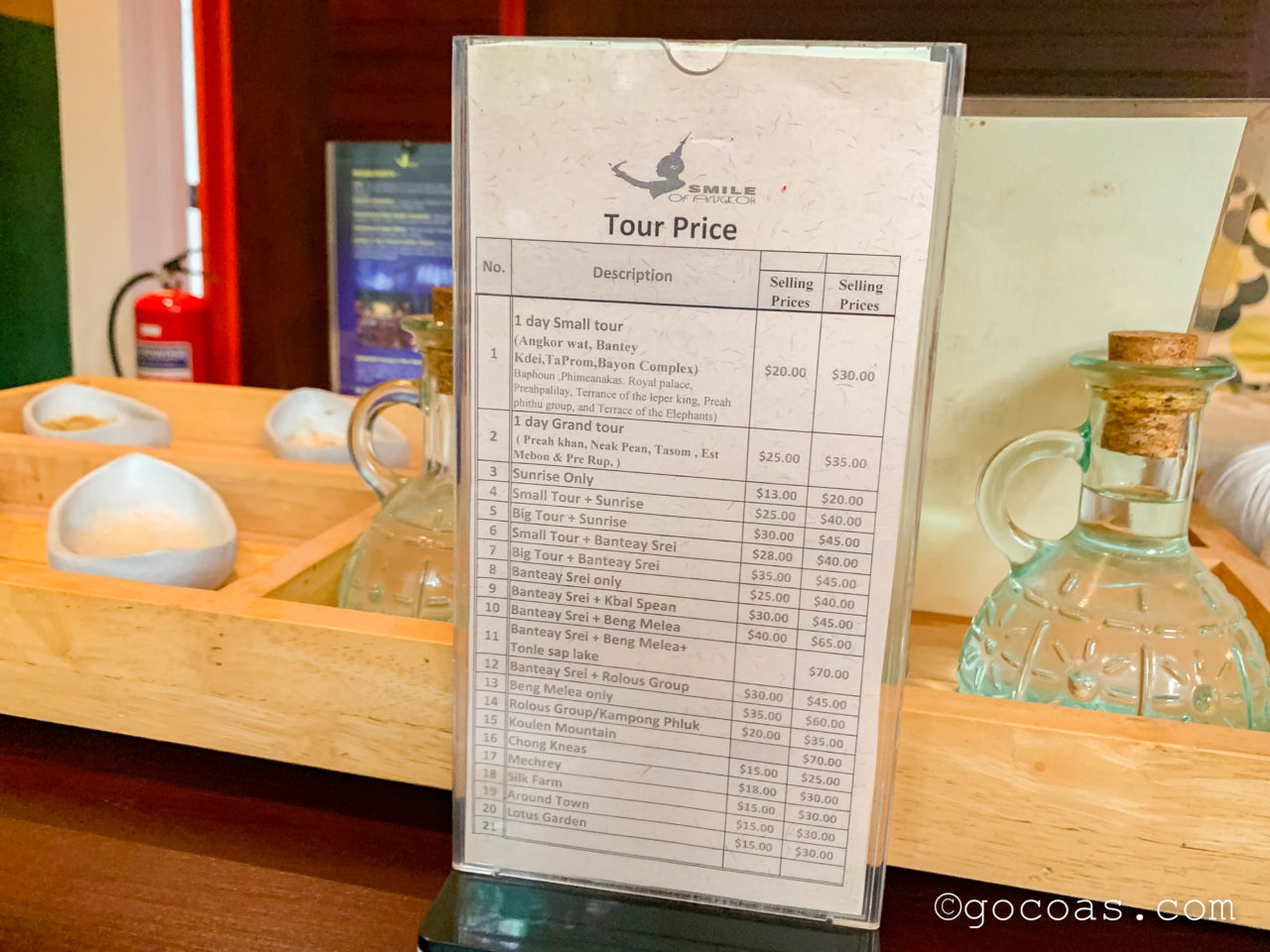 Smile Of Angkor Boutique Hotelツアーメニュー