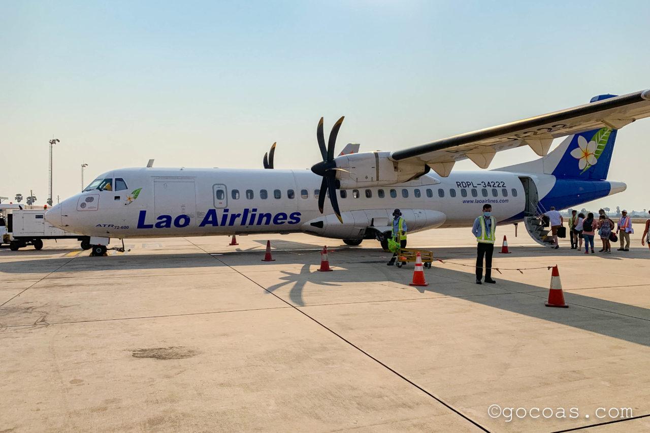シェムリアップ国際空港で撮ったラオス航空の飛行機の外観