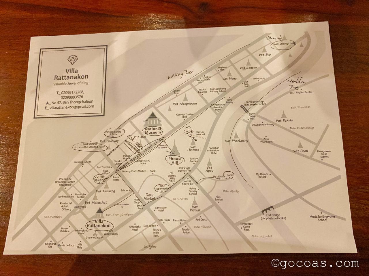 ヴィラ ラタナコンでもらった市内の地図