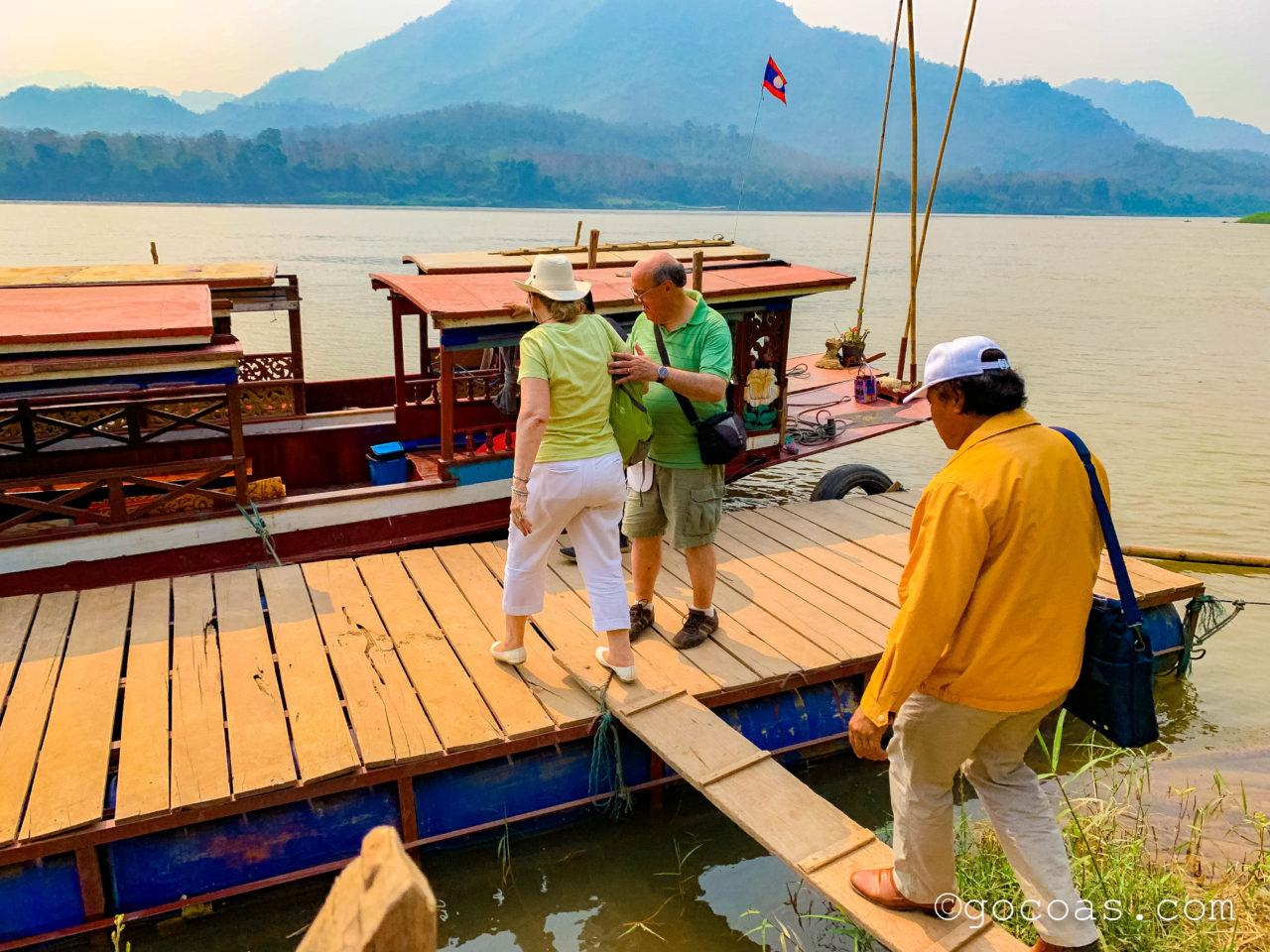 象使い体験の帰りのボート