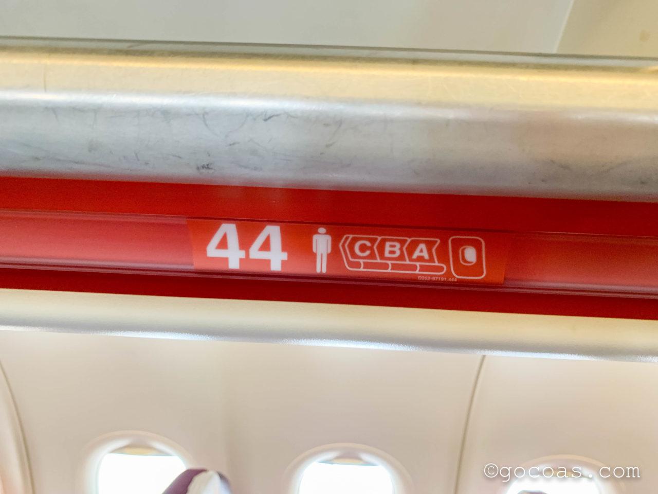 タイスマイル航空の44abcの座席