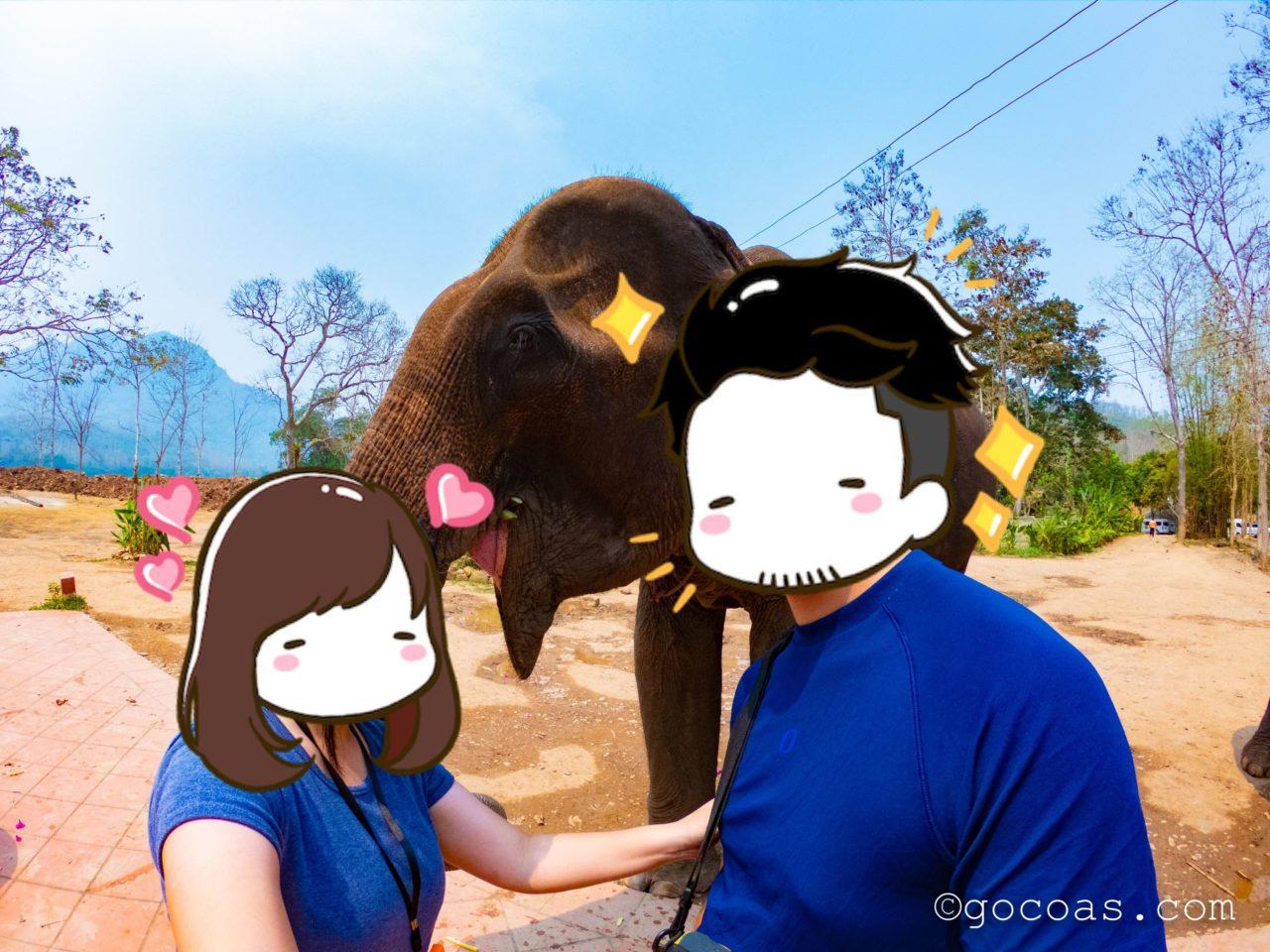 象使い体験で象とスリーショット