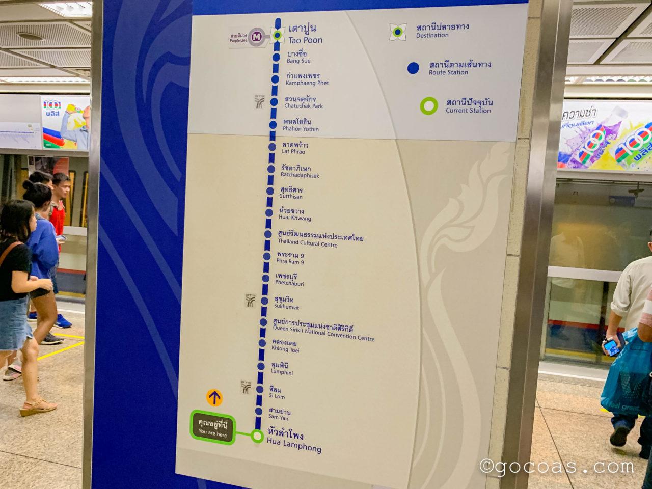 Hua Lamphong駅で購入した地下鉄の路線図