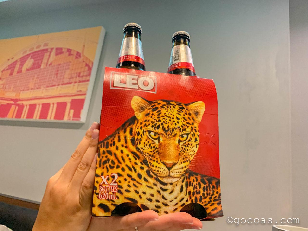 バンコクのコンビニで買ったヒョウのデザインのLEOビール