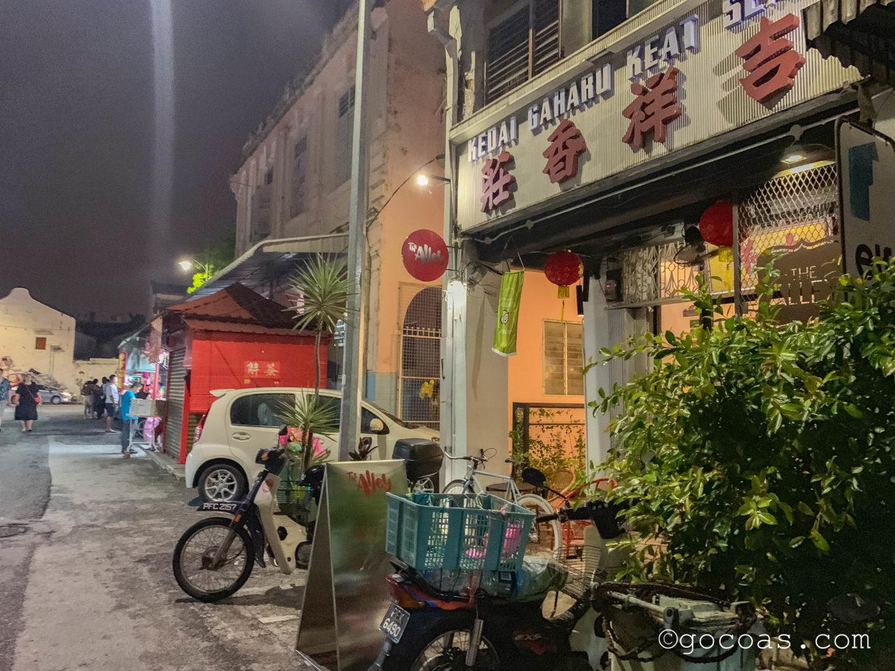 ペナン島の夜の街中にあった中華店