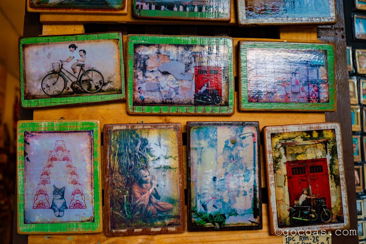 ペナン島の街中にあったウォールアートの絵