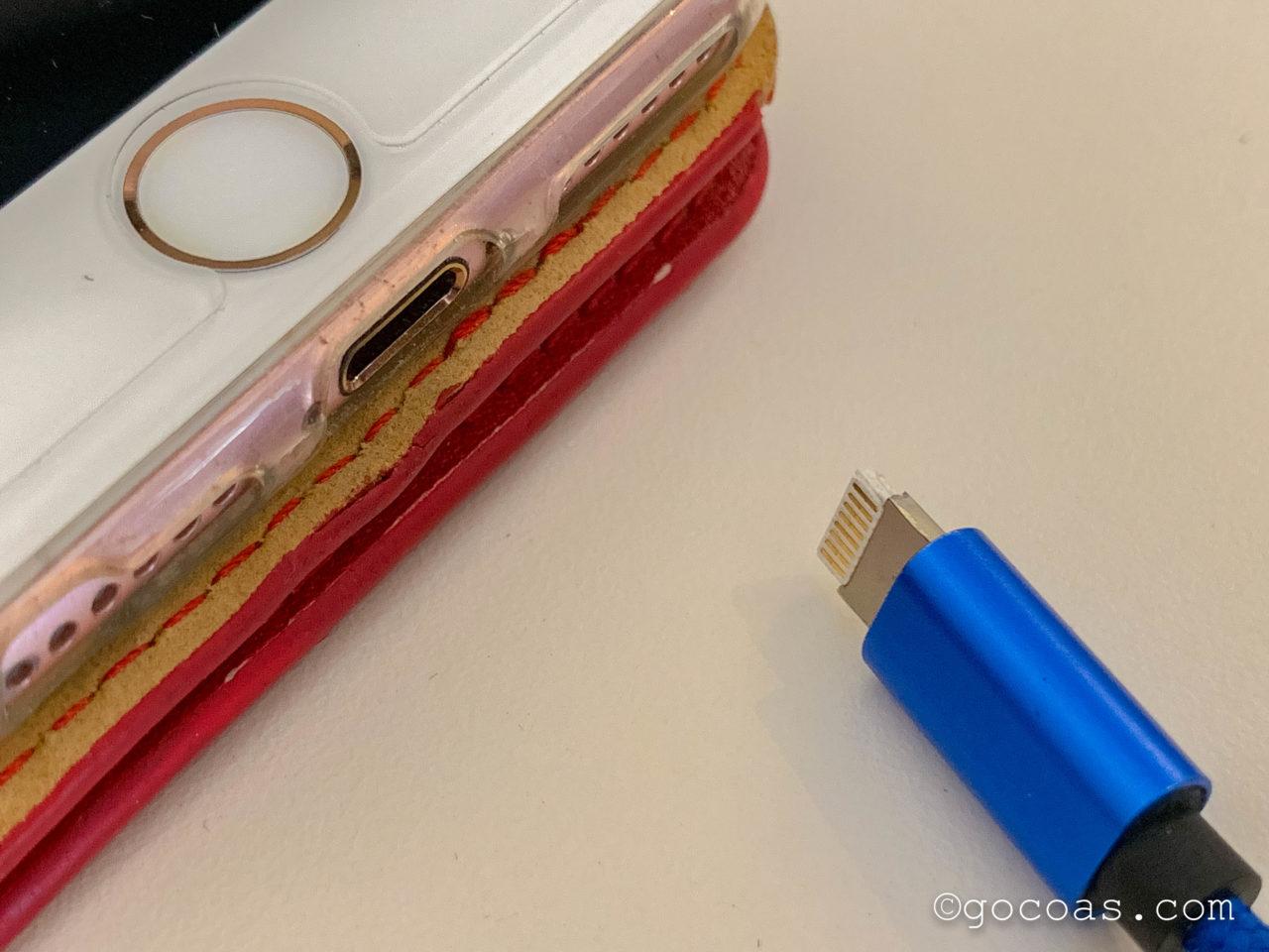 ペナン島で壊れたiPhoneの充電の口とコード