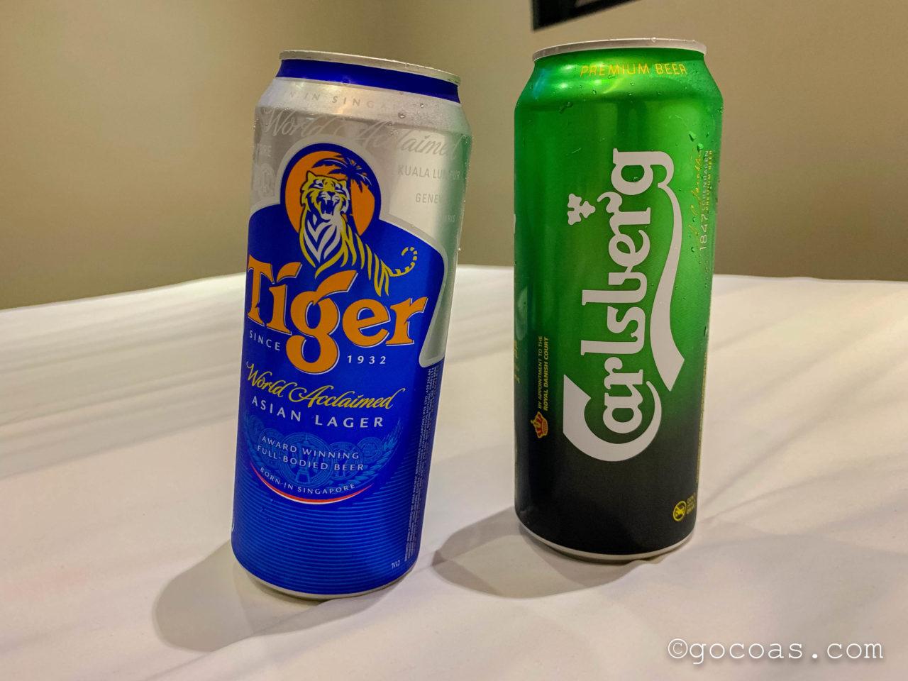 シンガポールで飲んだTIGERとカールスバーグのビール缶