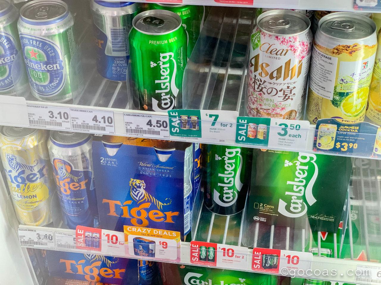 Kallang駅のコンビニのお酒の棚